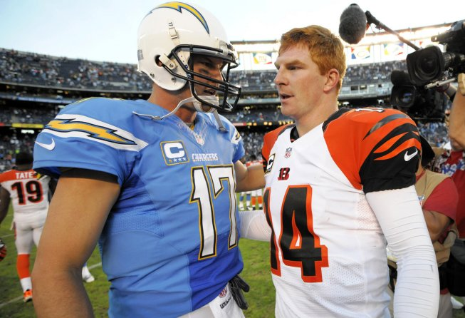 Philip Rivers shaking hands with Andy Dalton after a game.