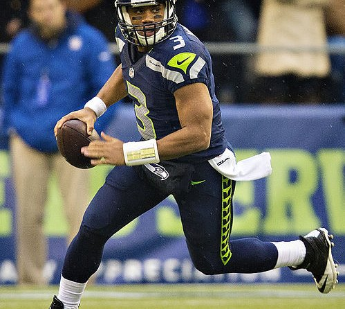 Seattle QB Russell Wilson on the run.