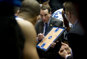 Duke head basketball coach Mike Krzyzewski in the huddle