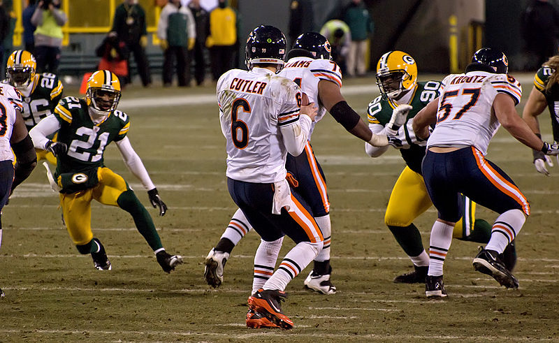 Jay Cutler dropping back to pass