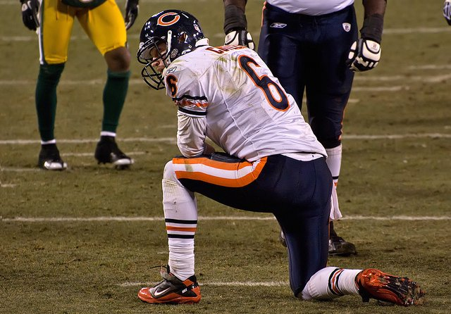 Cutler injured on a knee