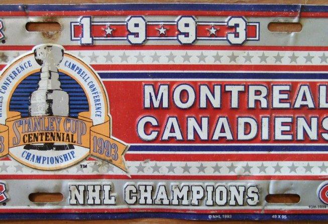Canadiens 1993 commemorative license plate