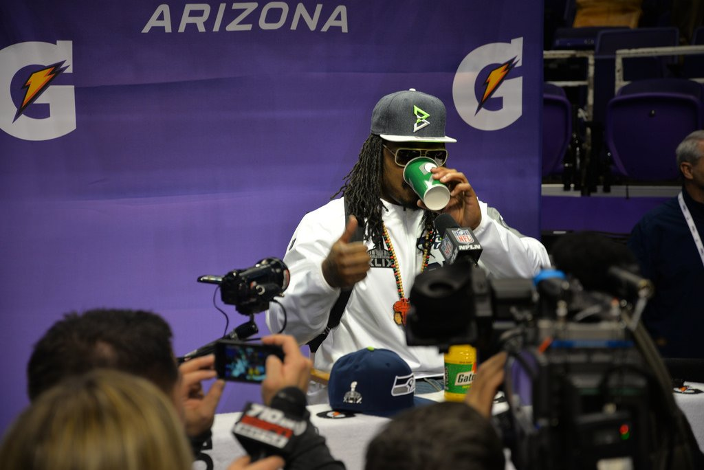 Marshawn Lynch at a press conference