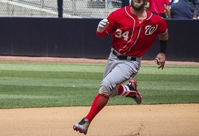 Bryce Harper rounding the bases