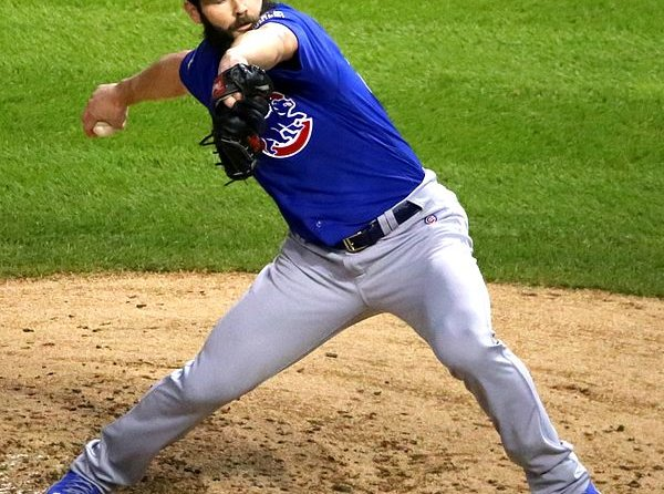 Jake Arrieta pitching in the world series