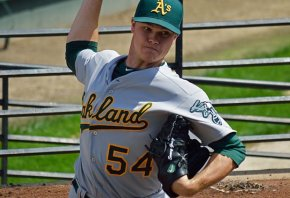 Sonny Gray warms up for the Athletics
