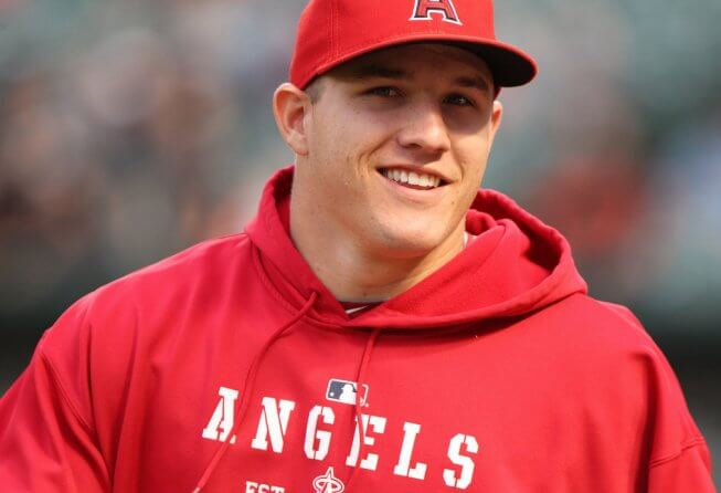 Mike Trout smiling for the camera.