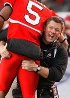 Kyle Whittingham with a Player
