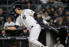 Gary Sanchez following through on a swing