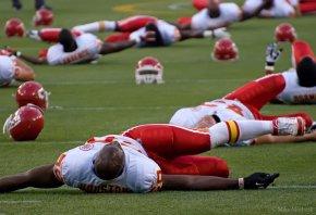Justin Houston stretching