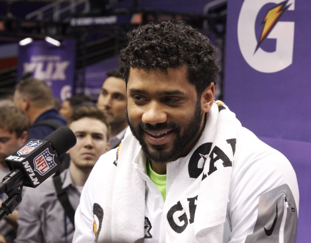 Russell Wilson during a press conference