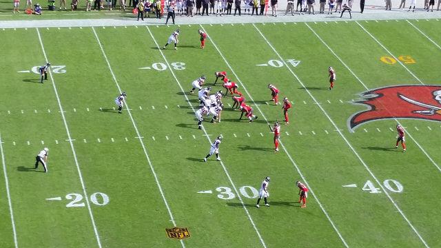 Overhead shot of a Bucs vs Falcons game