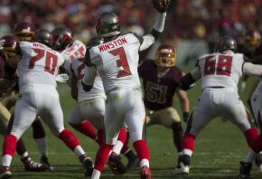 Tampa Bay QB Jameis Winston throws from the pocket.
