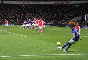 Mahrez takes a spot kick.
