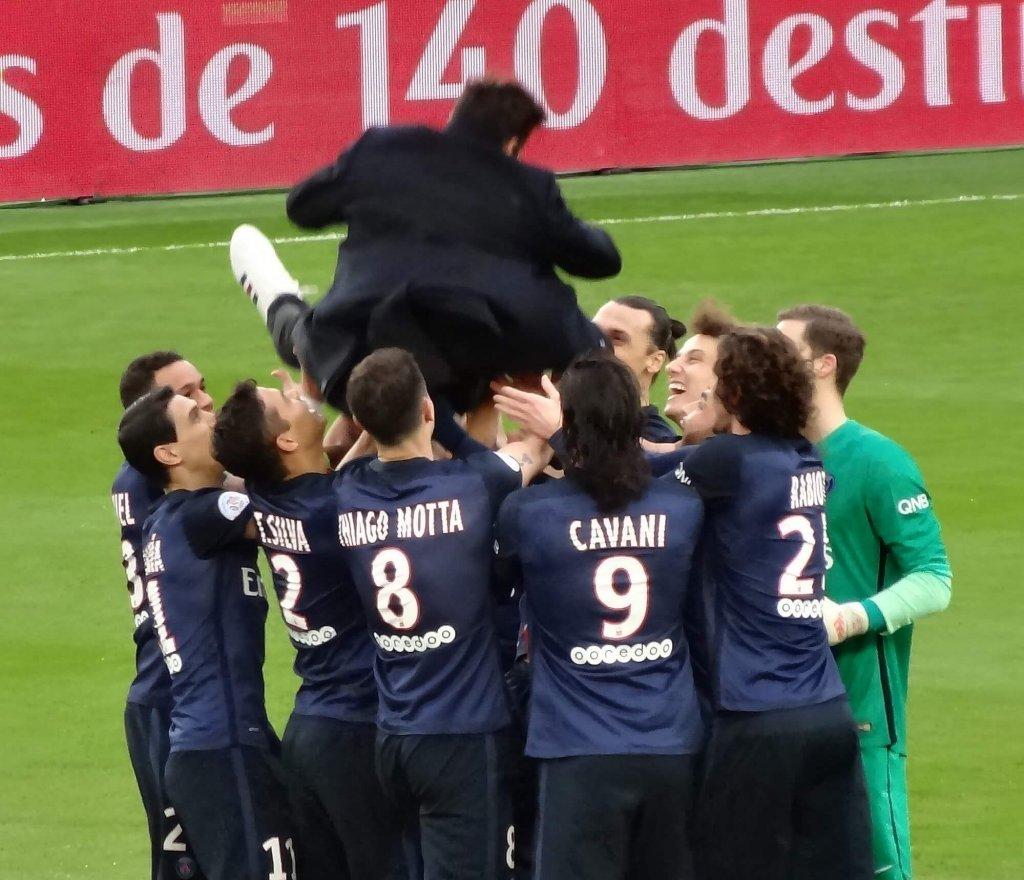 Paris Saint-Germain celebrate a win.