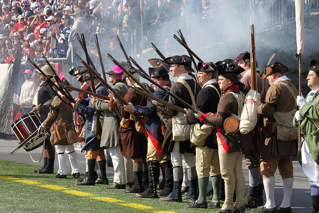 Re-enactors at a Patriots game
