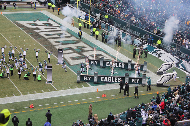 The Eagles running onto the field pre-game