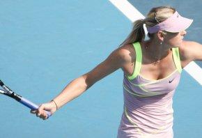 Maria Sharapova hitting a forehand