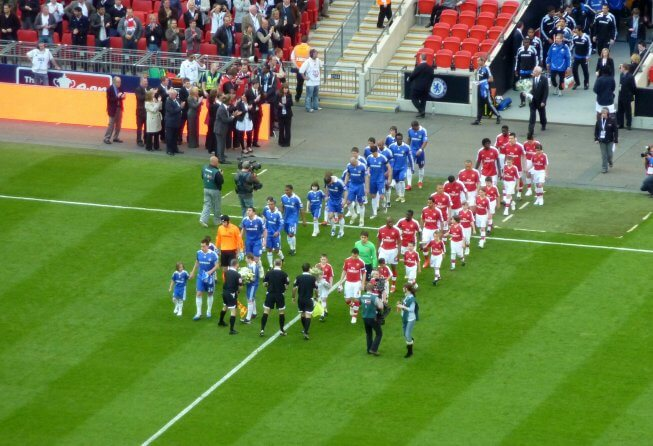 Arsenal and Chelsea walk out.