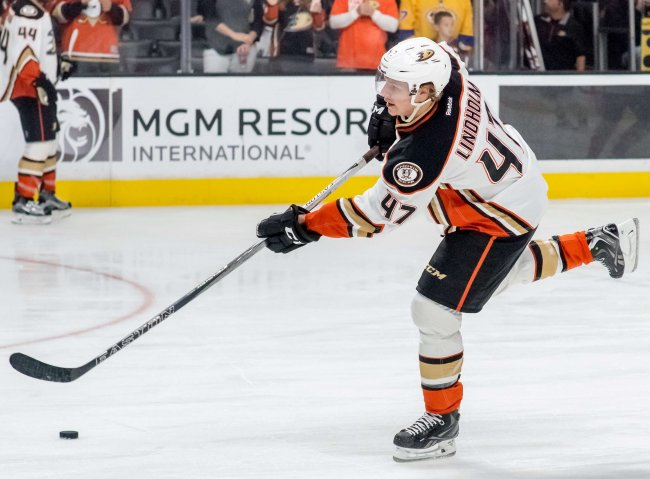 Hampus Lindholm playing for the Anaheim Ducks