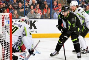 Nick Foligno shooting on Corey Crawford at the 2015 NHL All-Star Game