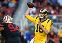 LA Rams QB Jared Goff throwing a pass