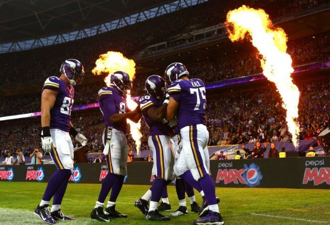 Minnesota Vikings players celebrate