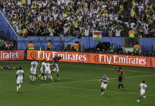 Germany celebrate their 2014 winner.