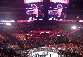 Vitor Belfort on the big-screen at a UFC event.