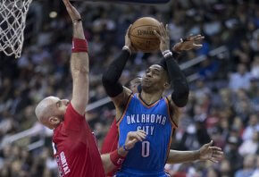Russell Westbrook goes hard to the hole against the Washington Wizards.