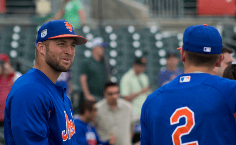 Tim Tebow donning his Mets uniform