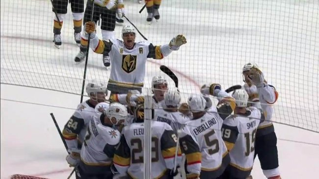 The Vegas Golden Knights winning their first NHL game.