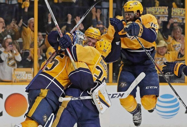 Nashville Predators celebrating a 2017 NHL playoff win.