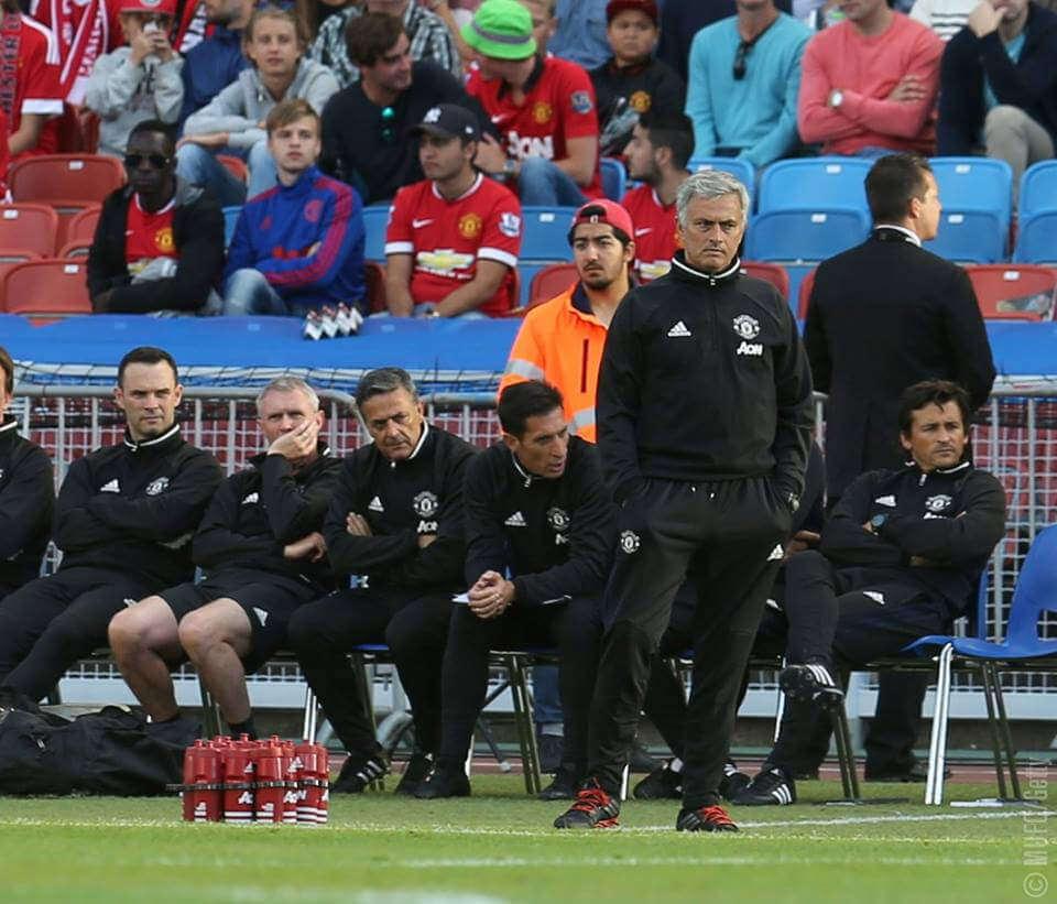 Mourinho looks on at Man United.