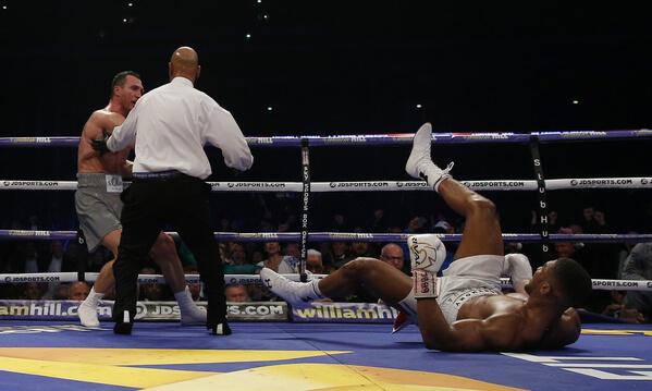Anthony Joshua knocked down.