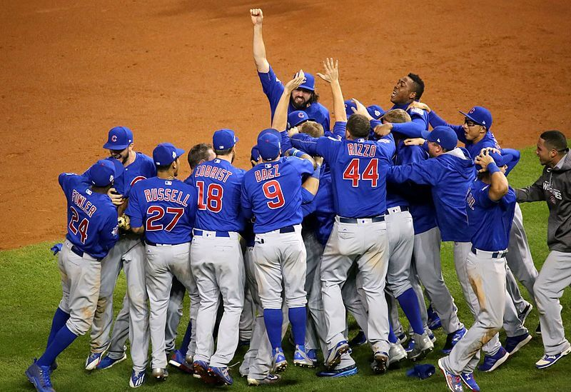 The Cubs celebrating their 2016 World Series title.