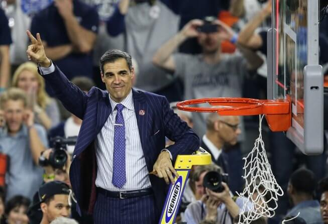 Villanova's Jay Wright cutting down the nets in 2016