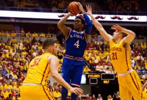 Kansas' guard Devonte Graham rising up for a jumper