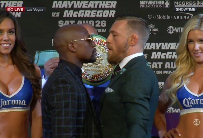 Mayweather and McGregor staredown ahead of their August 26th boxing match.