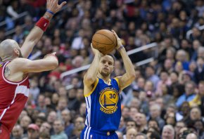 Steph Curry shooting a corner-three