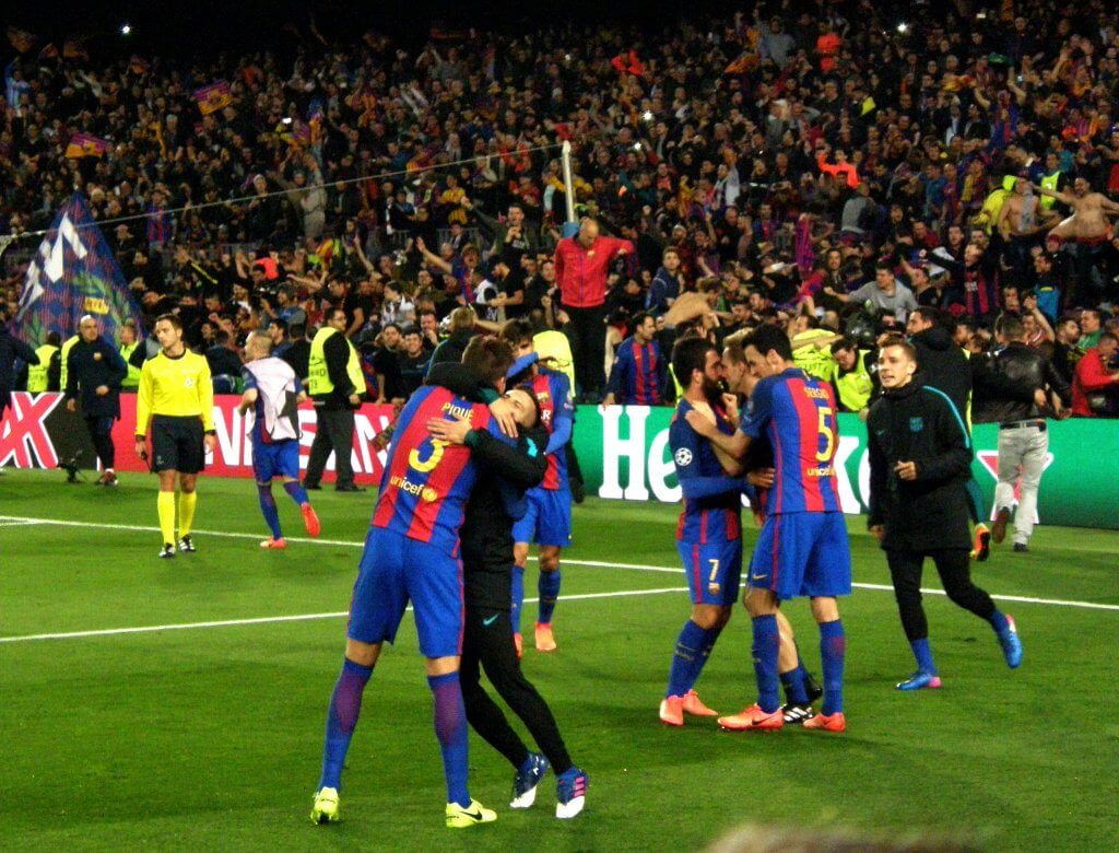 Barcelona celebrate their miraculous 6-1 win over PSG