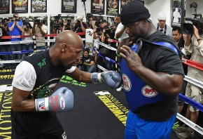 Floyd Mayweather during a media workout before the Mayweather vs Pacquiao blockbuster.