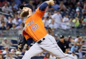 Houston's Dallas Keuchel throwing a pitch