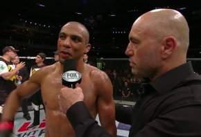 Edson Barboza (L) being interviewed by Joe Rogan