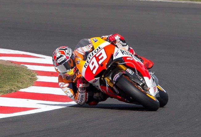 Marc Marquez cornering on his Repsol Honda.
