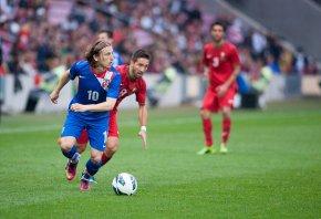 Croatia's Luka Modric looks to pass.