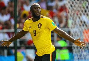 Belgium striker Romelu Lukaku celebrating