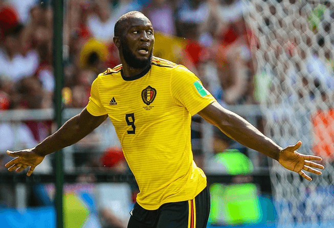 Belgium striker Romelu Lukaku celebrating