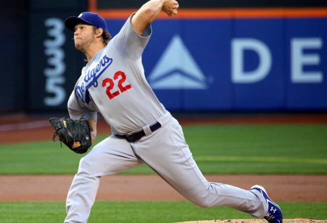 Clayton Kershaw throwing a pitch for the LA Dodgers