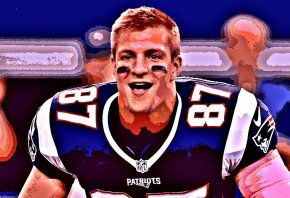 Stylized image of New England tight end Rob Gronkowski sticking his tongue out.